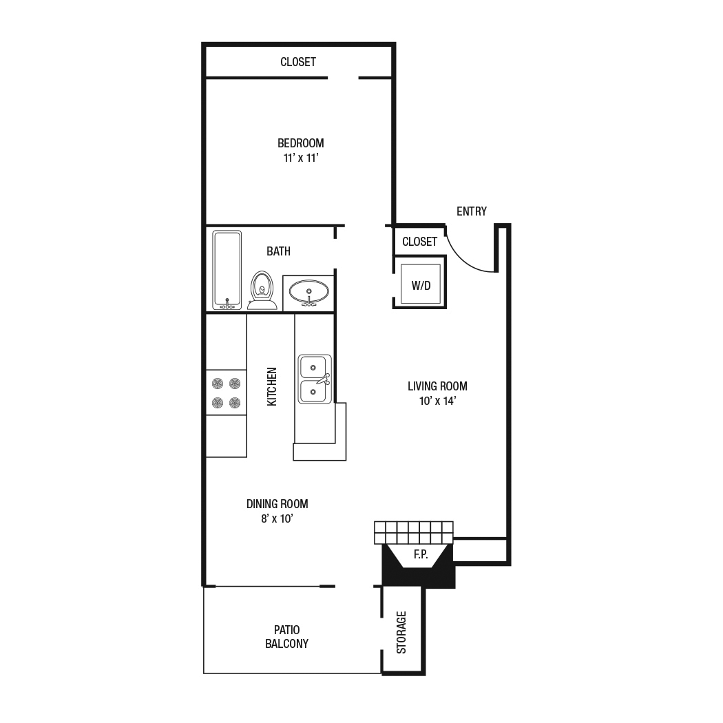 A1 - One Bedroom / One Bath - 610 Sq. Ft.*