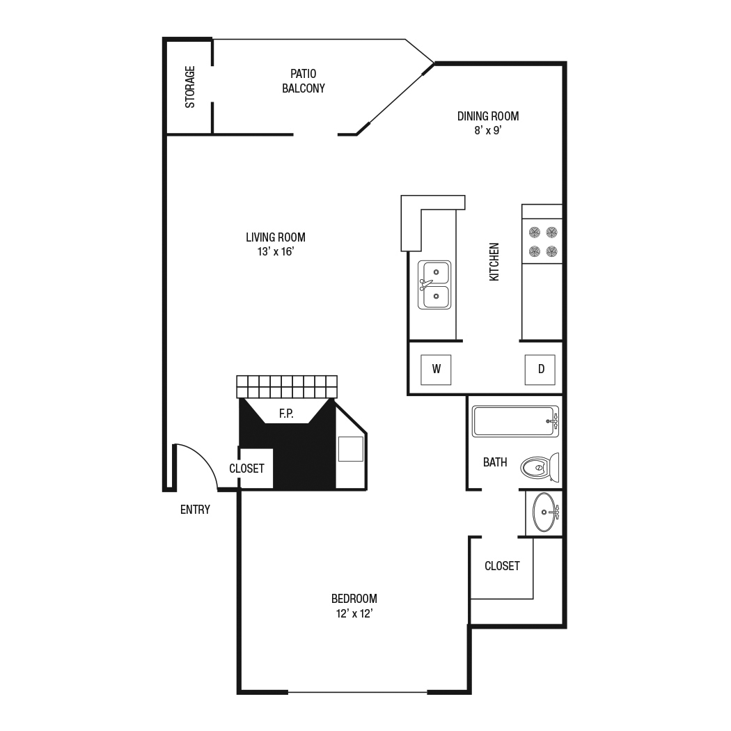 A2 - One Bedroom / One Bath - 736 Sq. Ft.*