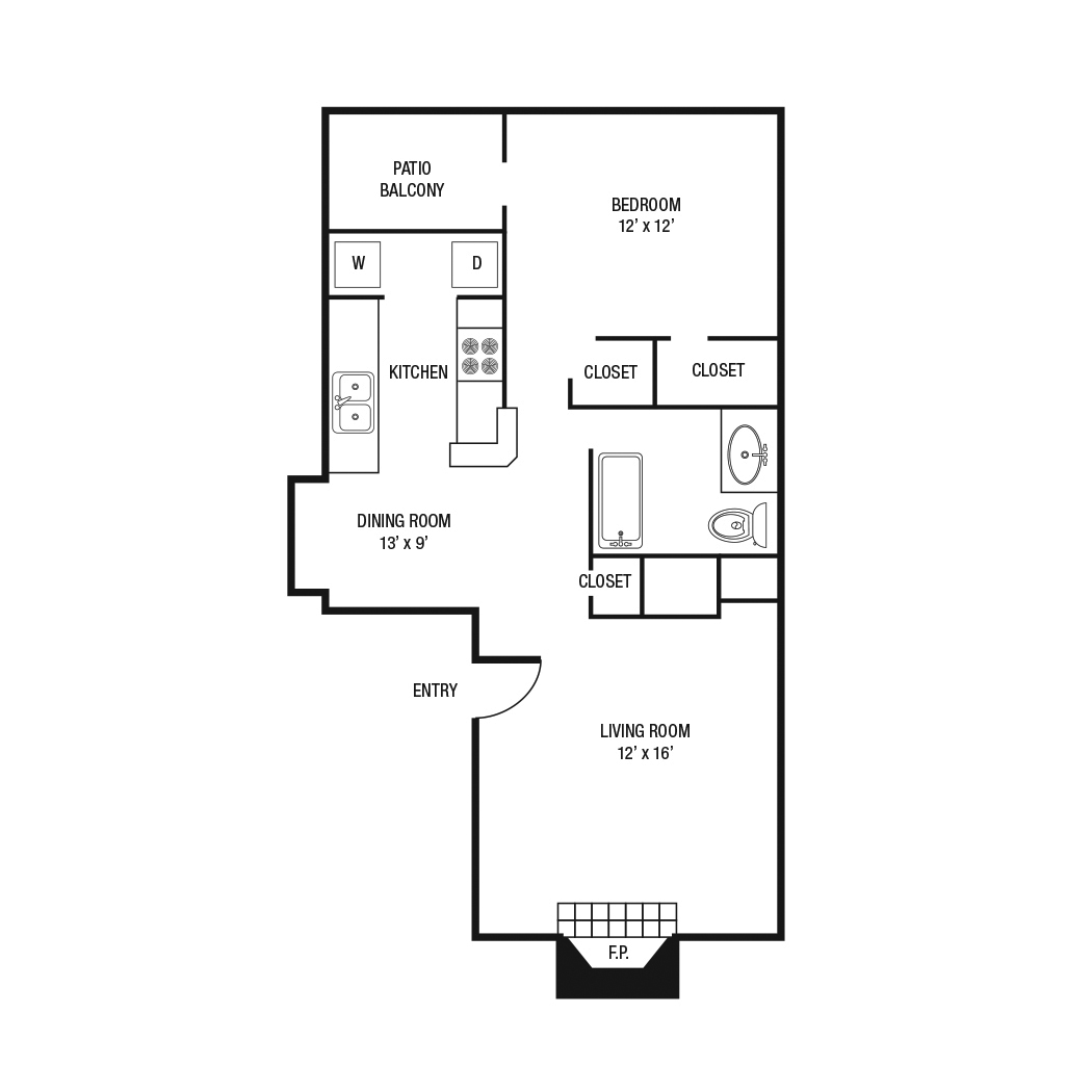 A3 - One Bedroom / One Bath - 788 Sq. Ft.*