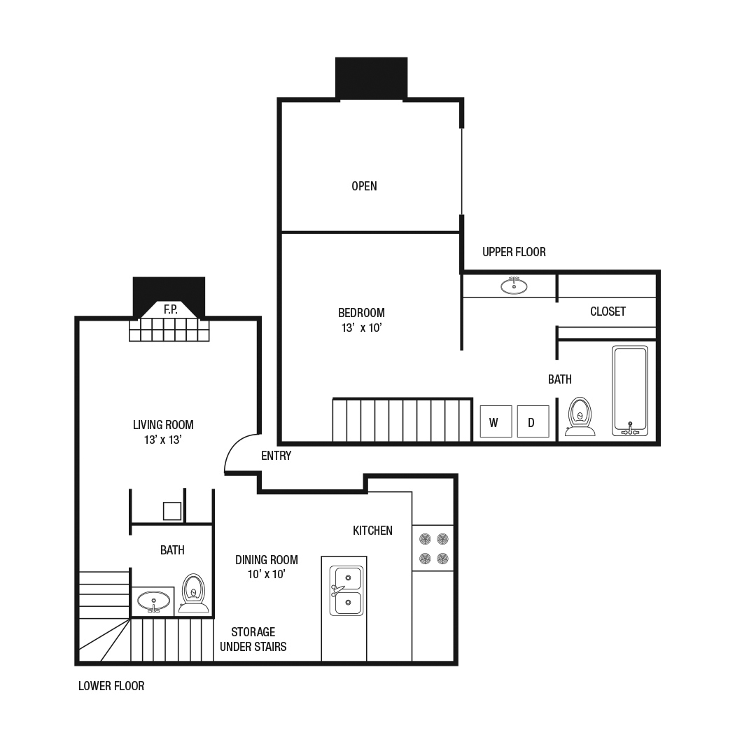 A5 - One Bedroom / One and 1/2 Bath - 843 Sq. Ft.*