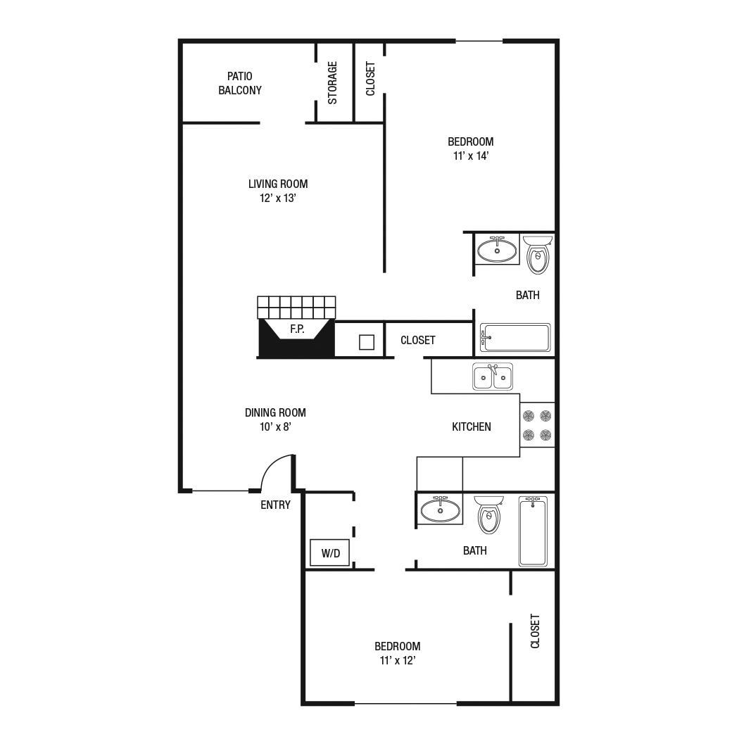 B1 - Two Bedroom / Two Bath - 1,000 Sq. Ft.*